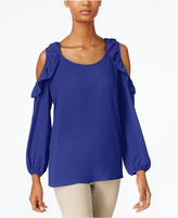 NY Collection Ruffled Cold-Shoulder Top