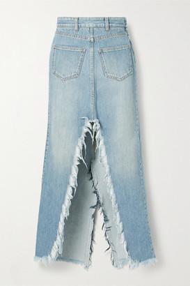 Givenchy Frayed Denim Midi Skirt - Light denim
