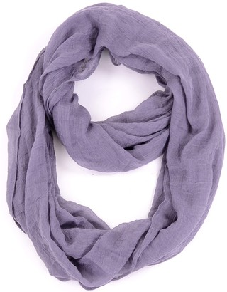 Be Your Own Style BYOS Womens Airy Crinkled Lightweight Soft Infinity Scarf Loop Snood in Solid Color - Grey - One size