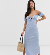 Asos DESIGN Petite off shoulder crinkle maxi sundress with puff sleeve