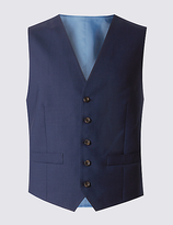 Savile Row Inspired Navy Tailored Fit Wool Waistcoat