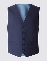 Savile Row Inspired Navy Tailored Fit Wool Waistcoat