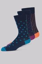 Moss Bros Multi 3 Pack Spot Socks