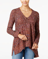 American Rag Lace-Up High-Low Sweater, Only at Macy's
