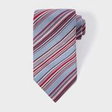 Paul Smith Men's Grey Multi-Coloured Diagonal Stripe Silk Tie