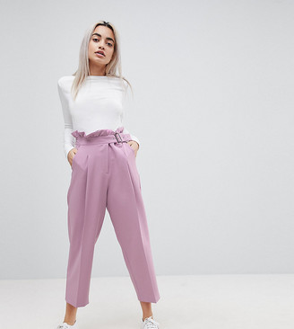 ASOS Tailored Frill Waist PANTS with Buckle Detail
