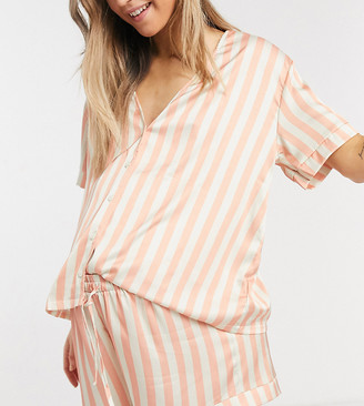 ASOS DESIGN Maternity stripe satin shirt & shorts pyjama set in peach