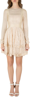 Temperley London Beige Geometric Lace and Mesh Paneled Long Sleeve Dress S