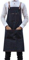 Jiyaru Unisex Chef Apron with Pockets Men Women Kitchen Restaurant Adjustable Workwear