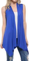 Shamaim Women's Outerwear Vests royal - Royal Blue Sleeveless Sidetail Open Cardigan - Women