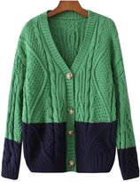 Futurino Women's Color Block Cable Knit V Neck Button Down Cardigan Sweater