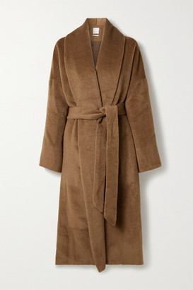 Deveaux Syd Belted Alpaca And Wool-blend Felt Coat - Light brown