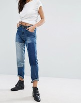 boohoo Patchwork Denim Straight Leg Jeans