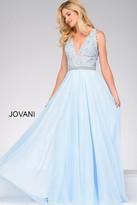 Jovani V Neck Lace Bodice Prom Dress 47948