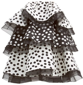 Carolina Herrera Polka Dot Ruffled Silk Mini Dress - Black White