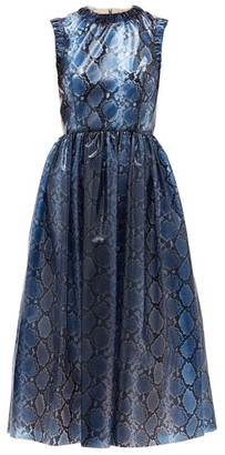 Emilia Wickstead Maidy Python-print Pvc Dress - Blue Multi