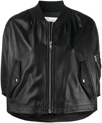 RED Valentino Cropped Ruffle Bomber Jacket