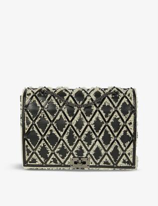 Valentino Beehive shearling-appliqué leather shoulder bag