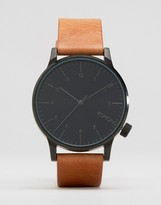 Komono Winston Regal Leather Watch In Tan