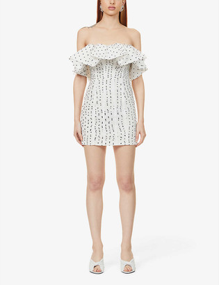 Self-Portrait Polka dot-pattern strapless woven mini dress