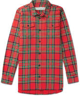 Off-White Oversized Printed Checked Cotton-Blend Shirt