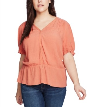 1 STATE Trendy Plus Size V-Neck Peplum Top