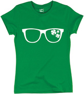 Green Shamrock Sunglasses Fitted Tee - Women