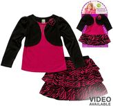 Dollie & Me Dollie and me mock-layer top and tiered zebra skirt set - girls 4-6x