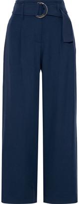 Iris & Ink Nolina Belted Brushed-cady Wide-leg Pants