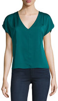 Milly Dolman-Sleeve V-Neck Top, Peacock
