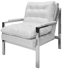 Worlds Away Camron Armchair Upholstery: White Ostrich, Finish: Nickel Plated