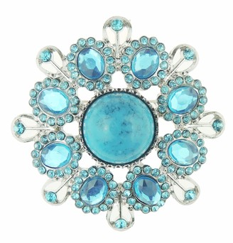 Glamour Girlz Turquoise & Blue Rhinestone Crystal Vintage Round 6cm Brooch Pin