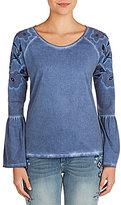 Peter Nygard Embroidered Bell Sleeve Top