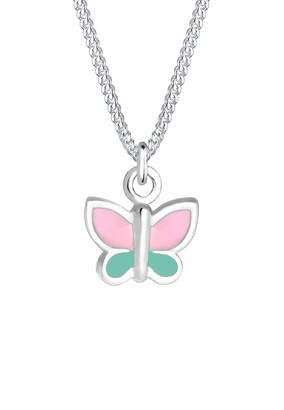 Elli Children's 925 Sterling Silver Pink Green Girls Butterfly Pendant with Necklace of Length 36 cm
