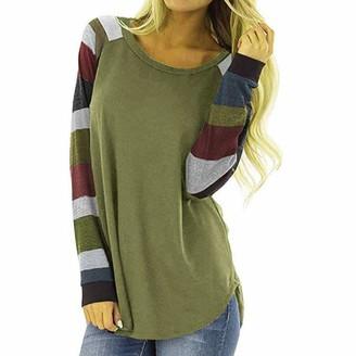 Doldoa Women Shirts Women's T-Shirt Sale Women Stripe Casual Tee Ladies Loose Long Sleeve Tops Blouse(Khaki L)