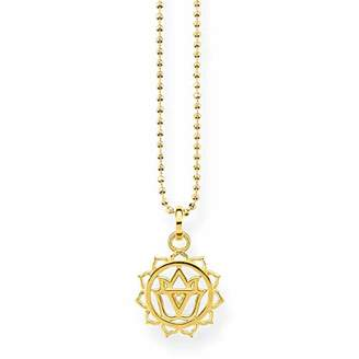 Thomas Sabo Women's 925 Sterling Silver Glam and Soul Solar Plexus Chakra Yellow Gold Plating Necklace of Length 45 cm KE1688-414-39-L45v