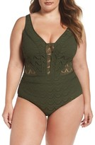 Plus Size Women's Becca Etc. Show & Tell One-Piece Swimsuit