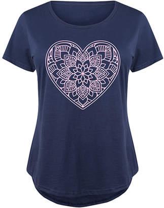 Instant Message Plus Women's Tee Shirts NAVY - Navy Mandala Heart Scoop Neck Tee - Plus