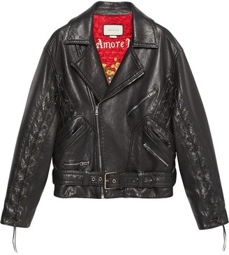 Gucci Leather jacket with mushrooms