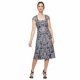 Alex Evenings Women's Tea Length Embroidered Dress with Cap Sleeve