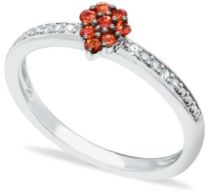 Macy's Orange Sapphire (1/4 ct. t.w.) Diamond (1/20 ct. t.w.) Stackable ring Set in Sterling Silver