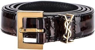 Saint Laurent Leather Belt in Tortoise Brown | FWRD