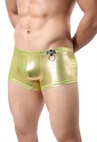 BRAVE PERSON Men Sexy Underwear Fashion Imitation Leather Boxers Tight Shorts NK16 (M, )
