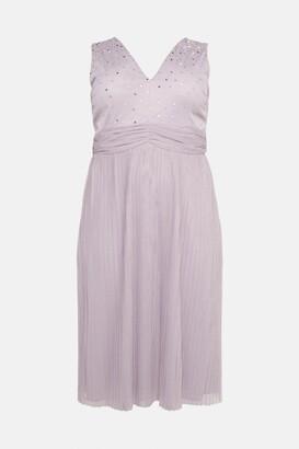 Coast Curve V Neck Pleated Skirt Sequin Midi Dress