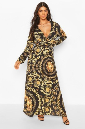 boohoo Chain Print Wrap Front Maxi Dress