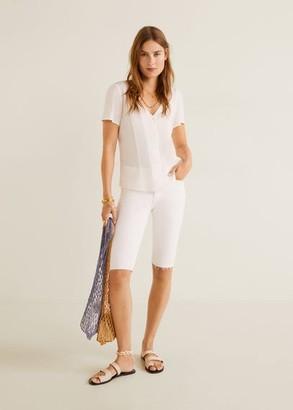 MANGO Buttoned flowy blouse off white - 4 - Women