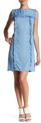 Sharagano Sleeveless Ruffle Chambray Dress (Petite)