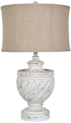 """Crestview Collection Swirled Antique White Table Lamp, 29"""""""