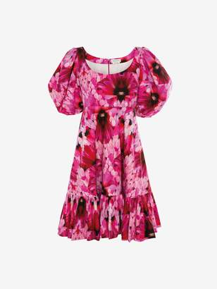 Alexander McQueen Endangered Flower Poplin Mini Dress