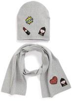 Little Marc Jacobs Patch Knit Hat & Scarf Set (Big Girls)